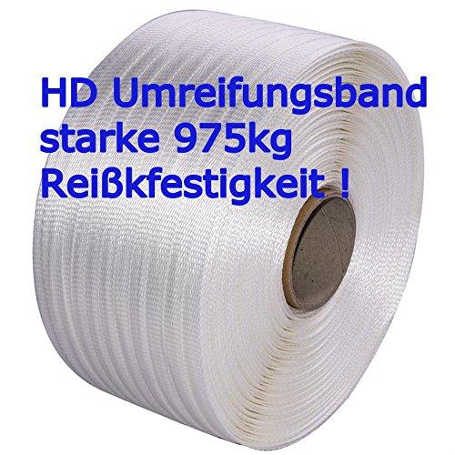 19mm HD Textilband - 975kg Rreisskraft - hochfest gewebt - Umreifungsband Made in Germany  2 Rollen  von unipak