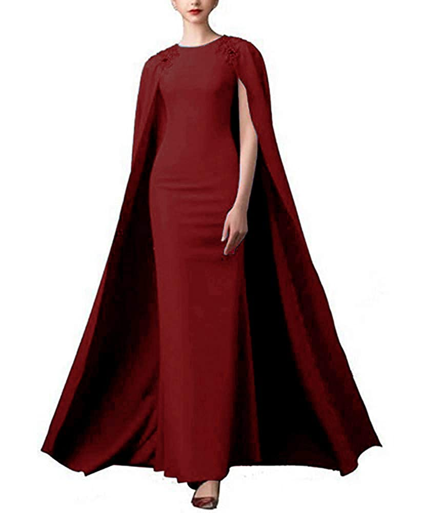 Burgundy Lnxianee Women's Long Beaded Formal Gown Prom Evening Dresses with Cape