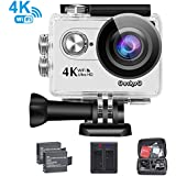 4K WIFI Sports Action Camera Ultra HD Waterproof DV Camcorder 16MP 170 Degree Wide Angle+2Pcs1050Mah Rechargeable Batteries+USB Dual battery Charger+ Carrying Case