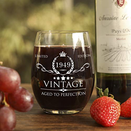 70th Birthday Present Ideas >> 1949 70th Birthday Gifts for Women and Men Wine Glass - Vintage Funny Anniversary Gift Ideas for ...