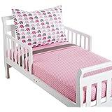 Bacati Elephants Toddler Sheet Set, Pink/Grey