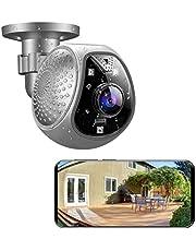 Überwachungskamera Aussen 180° Weitwinkel und Zoom Funktion WLAN 2.4GHz IR Nachtsicht 1080P HD mit Bewegungsmelder Zwei-Wege-Audio 128G SD Karten Unterstützung Bewache Ihr Zuhause Jederzeit