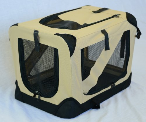 Portable Soft Pet Crate or Kennel for Dog, Cat, or other small pets. Great for Indoor and Outdoor (Beige, Small  20 x14 x14 ) by TopSeller100