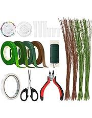 BestFire DIY Floral Arrangement Kit, 17pcs Floral Tools Wire Cutter Stem Wire Floral Wire 26 Gauge and 22 Gauge Wire Green Floral Tapes for Bouquet Stem Wrap Florist, Wreath Making Kit Supplies
