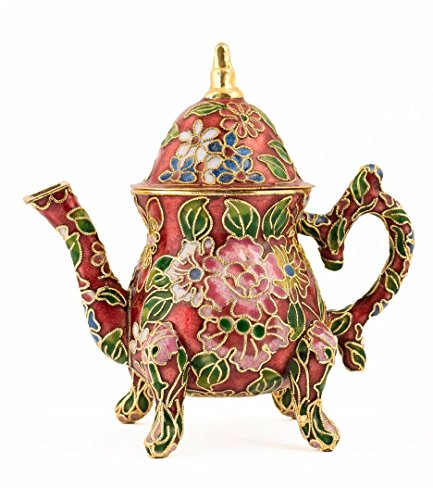 Value Arts Handmade Cloisonne Rube Red Decorative Teapot (red, museum)