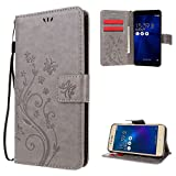 "Zenfone 3 Max Case , Leathlux [Stand Function ] Fashion Retro PU Leather Wallet Case Flip Protective Cover with Card Slots & Wrist Strap for Asus Zenfone 3 Max ZC520TL 5.2"" Gray"