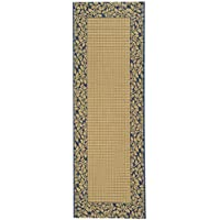 Safavieh Courtyard Collection CY0727-3101 Natural and Blue Indoor/Outdoor Runner (23 x 10)