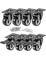 Abimars Castor Wielen 50mm/2in + Schroeven Zware Duty Castors Swivel Wheel Rubber Casters met Top Plaat & Lager (Set van 8)