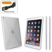 iPad Air 2 Case, BoxWave® [BodySuit with BONUS Keychain Charger] Premium Textured TPU Rubber Gel Skin Case for Apple iPad Air 2 - Frosted Clear
