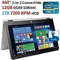 "HP ENVY x360 Flagship 2-in-1 Convertible Laptop PC, 15.6"" Full HD IPS Touch-Screen Display, Intel Due-Core i5-6200U, 12GB DDR4 RAM, 1TB 7200RPM HDD, Backlit Keyboard, Wi-Fi, Bluetooth, Windows 10"