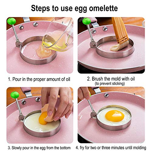 DYKL Stainless Steel Egg Ring,5 Pack Round Breakfast Household,Mold Tool Cooking,Round Egg Cooker Rings, For Frying Shaping Cooking Eggs,Egg Maker Molds
