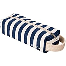 JFT Pencil Case Kawaii Colored Blue and White Cute Stripe Pen Bag with Hanging, Use as Travel Accessories Organizer Pouch Bags for Women
