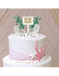 Love Sign with 2 White Small Mini Decorative Adirondack Plastic Beach Chair Wedding Anniversary Cake Decoration Toy Toppers
