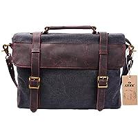 Deals on S-ZONE Vintage Canvas Leather Messenger Traveling Briefcase Laptop Bag