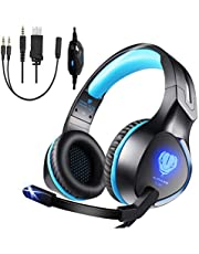 3.5mm Stereo Gaming Headset Compatible with Xbox One S, Xbox One X, PS4, PS4 Pro/Slim, Nintendo Switch, Laptop, Pad and PC, BUTFULAKE Over-Ear Headphones with Flexible Mic, Volume Control, LED