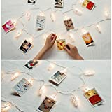 Photo Clips Fairy Lights 20 LEDs String Lights, Wisenovo Battery Operated Picture Photo Hanging Clips Perfect for Hanging Cards Artworks and Memos(8.2ft/2.5m Warm White)