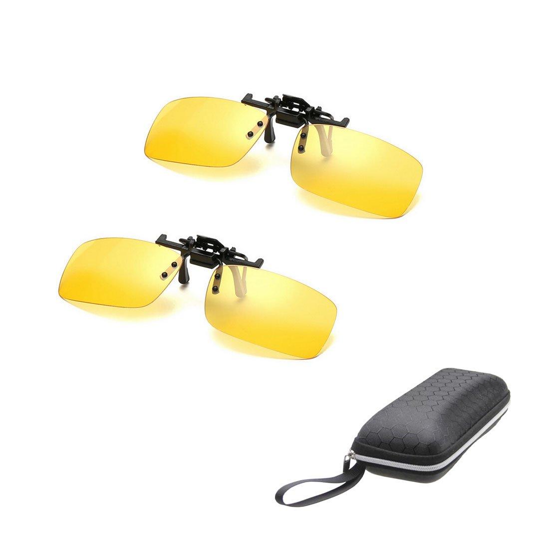 2 paires de lunettes de soleil Clip sur Flip Up Night Vision lunettes  anti-éblouissement b2027933883f
