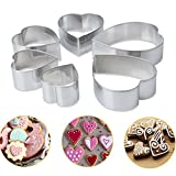 Iusun DIY Mold, 6Pcs Heart-shaped Cake Biscuit Cookie Cutter Mold DIY Baking Pastry Tool (Silver)