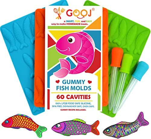 Gooj Gummy Fish Silicone 3 Pack + 3 Droppers - LFGB, FDA Gummy fish molds, non BPA Candy Molds - Gummy candy, Sunshine Orange, Blue and Green.(Printed recipe included).