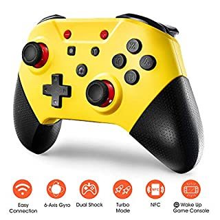 Switch Pro Controller for Nintendo Switch and PC,Comdigio Wireless Switch Controller Gamepad Joystick with NFC and Home Wake-Up Function,Support Gyro Axis, Turbo and Dual Vibration.Yellow