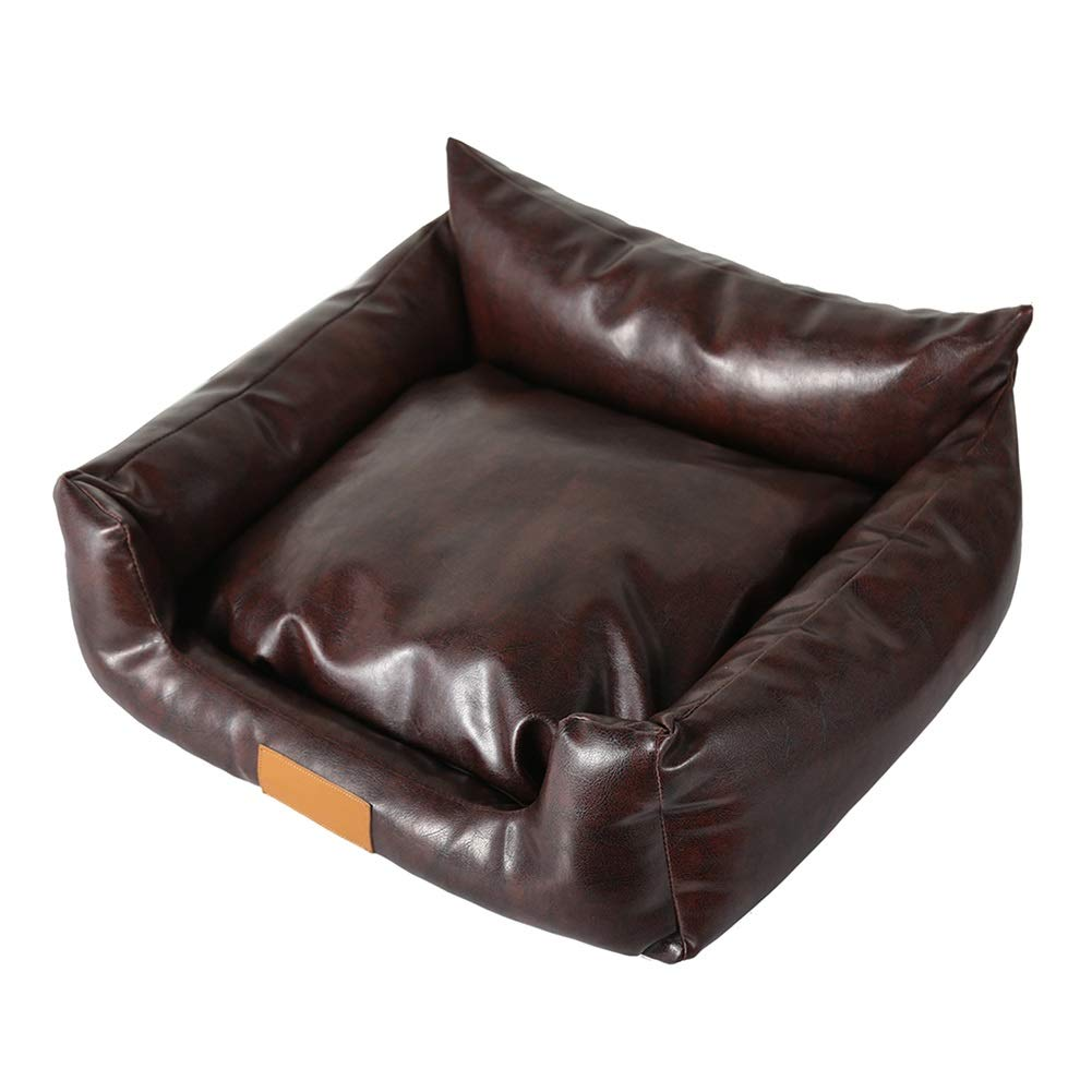 504022cm LSS Leather Pet Bed Rectangular Sofa Cushion Dog Cat Mat with Removeable Cover Brown color (Size   50  40  22cm)