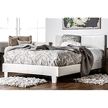furniture leatherette upholstered platform bed queen white frame size with cushioned headboard masterton