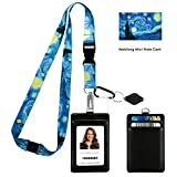 Vincent Van Gogh the Starry Night Print Lanyard with PU Leather ID Badge Holder with Front and Back pockets, Safety Breakaway Clip and Matching Note Card. Carabiner Keychain Flashlight.