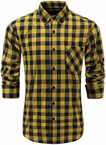 3aac7d7d KateSui Mens Regular Fit Long Sleeve Button-Down Plaid Dress Shirt