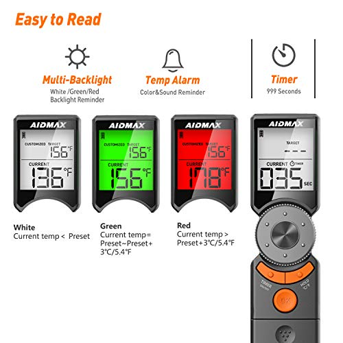 AidMax Mini6 Instant Read Meat Thermometer, Digital Cooking Thermometer with Multi Customization Mode,3 Colors Backlight & Timer, Smart Food Thermometer for Kitchen BBQ and Grill!