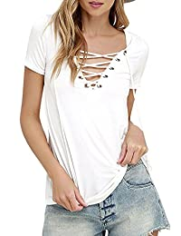 Azbro Women's Solid V Neck Lace Up Front Short Sleeve Casual Top