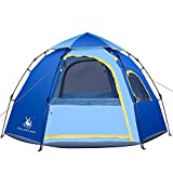 Rxlife Instant Pop up Camping Tent Automatic Hiking Dome Tent with Vent Mesh Doors and Windows Shelter for Outdoor Family Camping Hiking Backpacking Travel Beach Blue