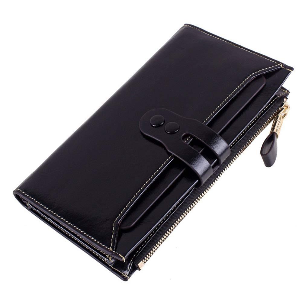 Black Womens RFID Walllet Wallet for Women Leather Clutch Wallet Purse Long Ladies Credit Card Holder Organizer Wristlet Wrist Strap Handbag Women's Leather Zip Around Wallet,Women Blocking W