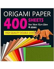400 fogli colorati double face, carta per origami in 10 colori vivaci assortiti, 4 misure