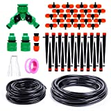 "Ohuhu DIY Drip Irrigation Kit Plant Watering System, 1/2"" & 1/4"" Heavy Duty Tube, 2 Different Drip Irrigation Emitters Drippers, Water-Saving System for Garden Greenhouse, Pot Plants, Flower Beds"