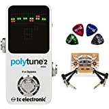 TC Electronic PolyTune 2 MINI Polyphonic Tuning Pedal BUNDLED WITH Blucoil Power Supply Slim AC/DC Adapter for 9 Volt DC 670mA, 2 Pack of Pedal Patch Cables AND 4 Celluloid Guitar Picks