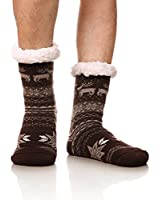 DoSmart Men's Winter Thermal Fleece Lining Knit Slipper Socks Christmas Non Slip Socks(Brown)
