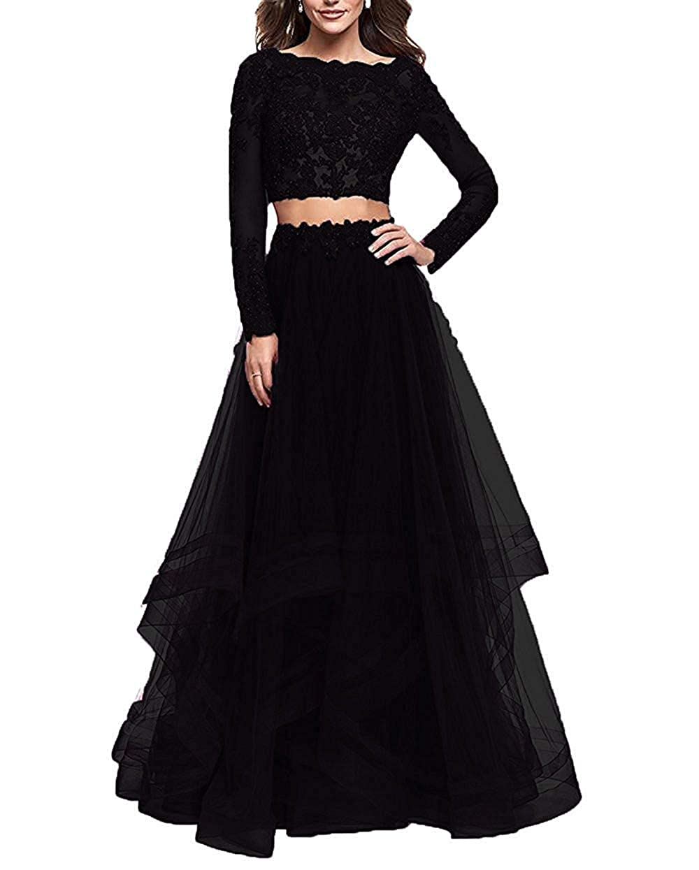 Black Sulidi Womens Lace Long Sleeves 2 Piece Tulle Prom Dresses 2019 Long Backless Formal Evening Gowns C238