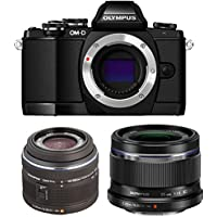 Olympus OM-D E-M10 16MP Mirrorless Digital Camera with 14-42mm F3.5-5.6 Black V207021BU000 + Olympus 25mm f1.8 Interchangeable Lens V311060BU000 Camera Lens Bundle