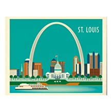 Travel Wall Art Gift for Home, Office, and Nursery - St. Louis, Missouri - horizontal