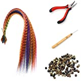 "SARLA Hair Feathers Extensions Kit Mixed Color 50 Pcs Feathers +3 Tools Colored Feathers for Girl 16"" Synthetic Heat Resistant Fiber (50Y1&Tools)"
