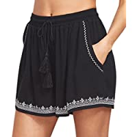 Oksale Summer Womens Loose Beach Pants High Waist Drawstring Short Pants