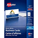 "Avery Perforated Business Cards for Inkjet Printers, 2"" x 3-1/2"", White, Matte Coated, 250 Pack, Rectangle (8371)"