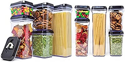 [15-Piece Set] Royal Air-Tight Food Storage Container Set - Durable Plastic - BPA Free and Dishwasher Safe - Slightly Tinted with Black Lids by Royal