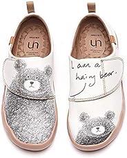 UIN Women's Men's Slip On Sneakers Cute Bear Casual Walking Shoes Microfiber Leather Street Travel Pai
