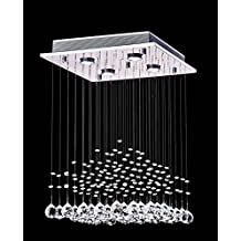 "Saint Mossi® Crystal Rain Drop Chandelier Modern & Contemporary Ceiling Pendant Light H22"" X W16"" X L16"""