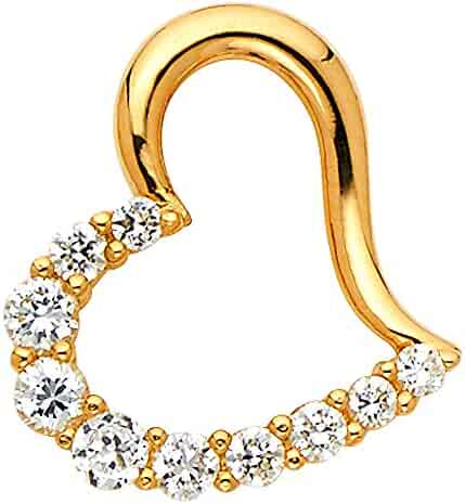 Star Pendant Solid 14k Yellow Gold Charm CZ Astrology Style Pave Fancy 15x15 mm
