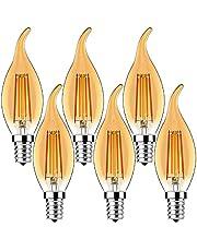 MZYOYO Set van 6 E14 4 W led-kaarslampen, E14 dimbaar, warmwit, kaarsvorm, retro kaarslamp voor kroonluchters, 4 W, vervangt 40 watt, gloeidraad lamp, 400 lumen, 2700 K