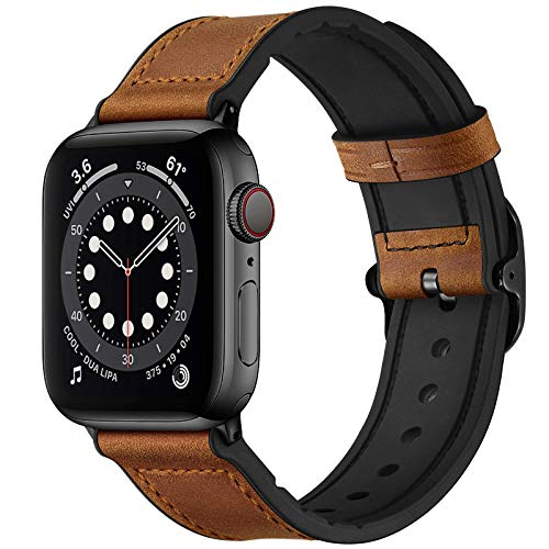 OUHENG Leather Bands Compatible with Apple Watch 44mm 42mm, Genuine Leather and Rubber Sweatproof Hybrid Band Strap Compatible for iWatch SE Series 6 5 4 3 2 1