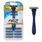 BIC Flex 2 Hybrid Men's Twin Blade Razor, One