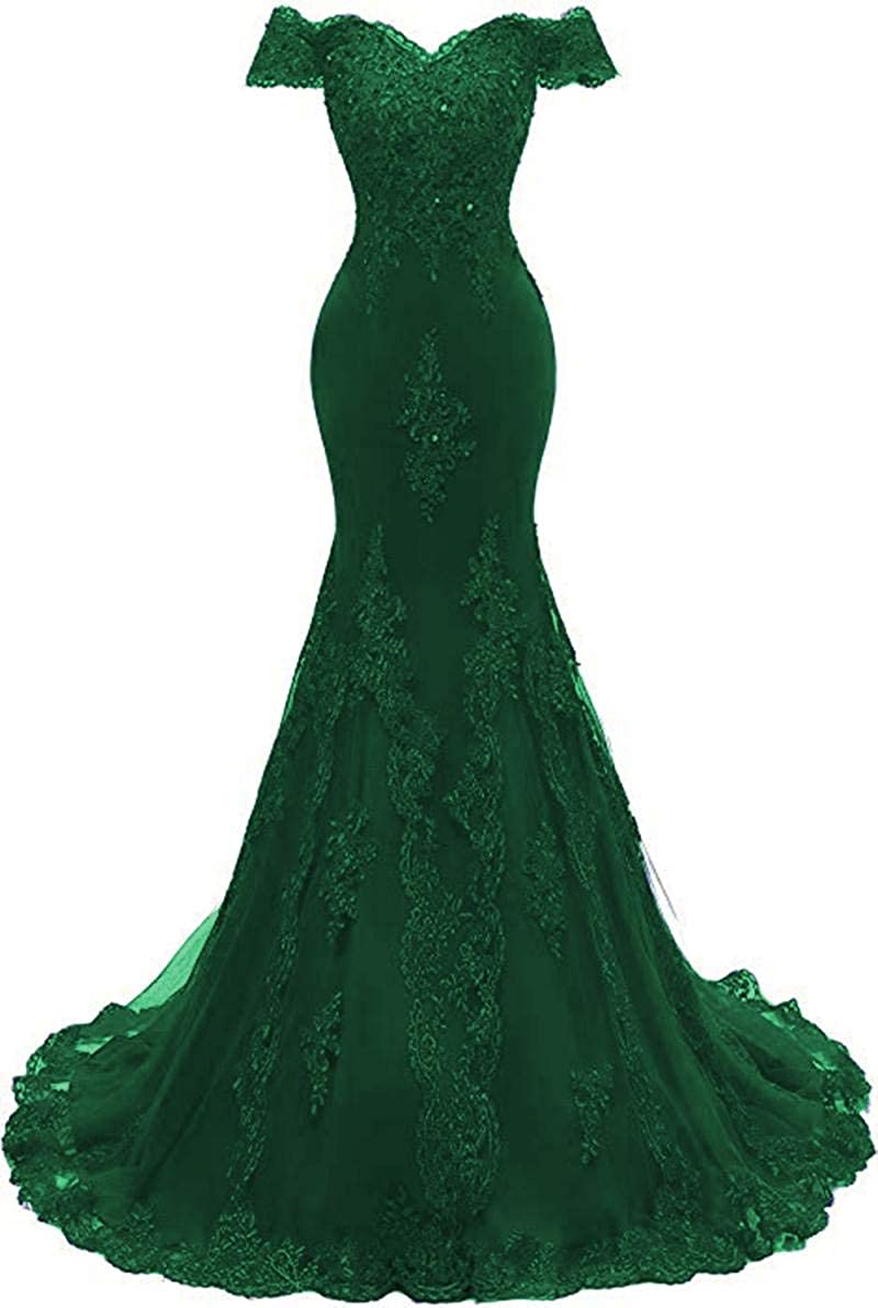Emerald Green ROMOO Women Off the Shoulder Tulle Mermaid Prom Dresses Long Lace Beaded Evening Wedding Dress 2019